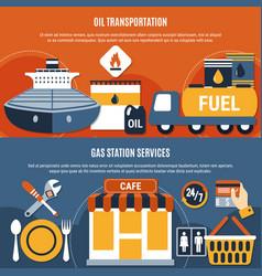 fuel pump flat composition set vector image