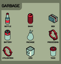 garbage color outline isometric icons vector image