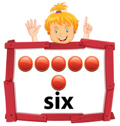 Girl with number six banner vector