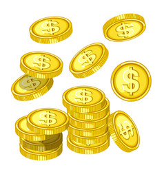 Gold coins with dollar signs drops from above vector