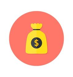 Gold Money Bag Flat Circle Icon vector