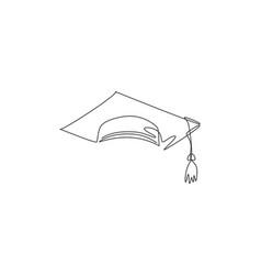 graduation cap single continuous line university vector image