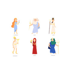 Greek gods and goddesses in special traditional vector