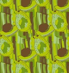 Green avocado with brown kernel vector