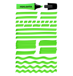 Green lines and layered scribbles with highlighter vector