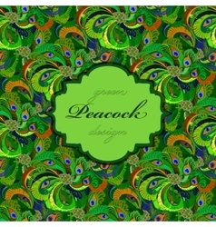 Green peacock feathers seamless pattern background vector image