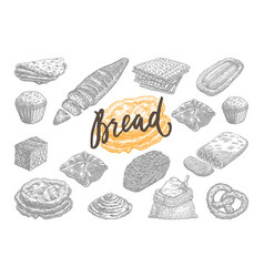 hand drawn bread and pastries set vector image