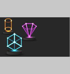 Hologram innovative game technology 3d geometric vector