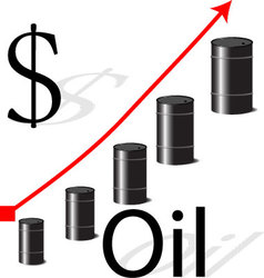Increases in the price of oil vector