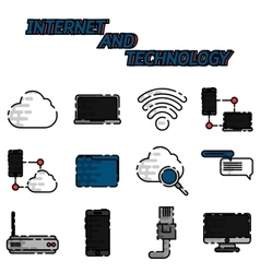 Internet and technology flat icon set vector image