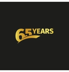 Isolated abstract golden 65th anniversary logo on vector image