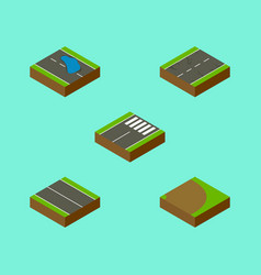 Isometric way set of plash rotation footer and vector