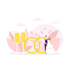 just married couple standing next huge wedding vector image