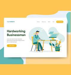 landing page template hardworking businessman vector image