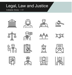 legal law and justice icons modern line design vector image