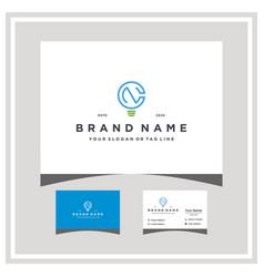 Letter cn light logo design and business card vector