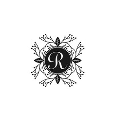 letter r boutique luxury logo design inspiration vector image