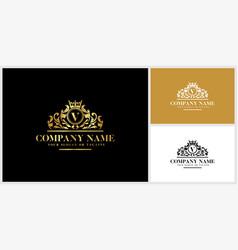 Letter v logo design luxury gold vector