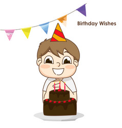 Little boy and surprise birthday cake vector