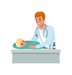 male pediatrician doing medical exam of baby at vector image
