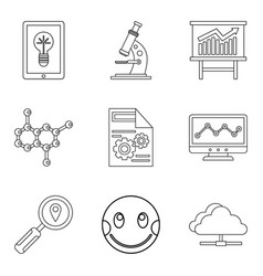 material science icons set outline style vector image