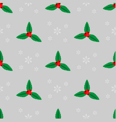 merry christmas seamless pattern with holly and vector image