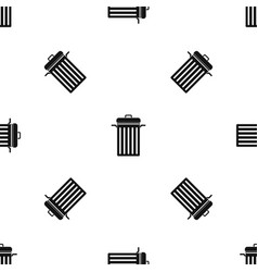 Metal trash can pattern seamless black vector