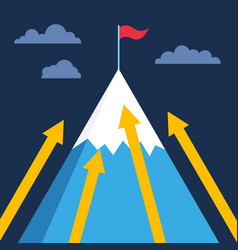 Mountain with flag on top business success vector