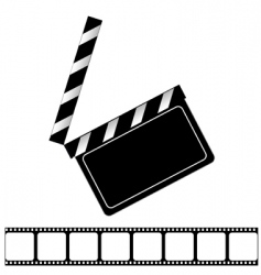 movie clapper board and filmstrip vector image vector image