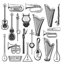 Music instrument isolated sketches vector