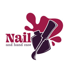 nail and hand care isolated icon nail polish or vector image