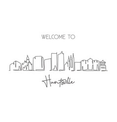 One continuous line drawing huntsville city vector