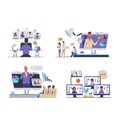 online conference business meeting and video call vector image