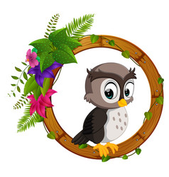 Owl on round wood frame vector