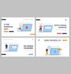 Password and information defend website landing vector