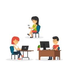 People Work in Office Design Flat vector image