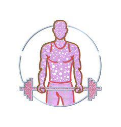 personal trainer lifting barbell memphis style vector image