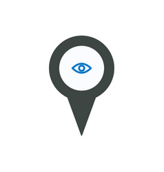 pin icon with eye sign symbol vector image