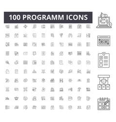 programm line icons signs set outline vector image