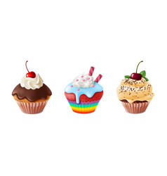 realistic cupcakes homemade sweet dessert vector image