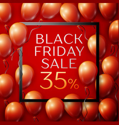 red balloons with black friday sale thirty five vector image