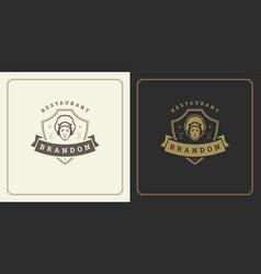 Restaurant logo template man vector