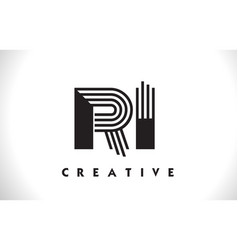 Ri logo letter with black lines design line letter vector