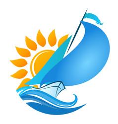 sailboat in sea and sun vector image