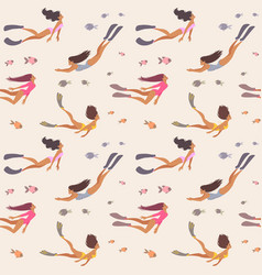 seamless girl pattern vector image