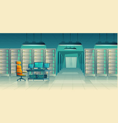 server center control room data storage vector image