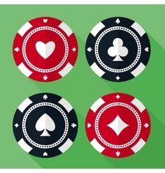 Set of casino gambling chips flat icons vector image