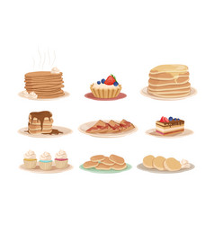 set with various sweet desserts stack of pancakes vector image