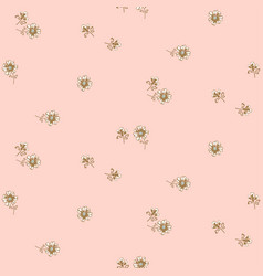 Simple meadow florals tender pastel pink colors vector