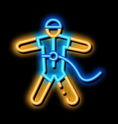 Skydiver with insurance neon glow icon vector